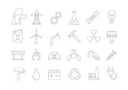 wind power plant: Set of 24 indusrty vector icons