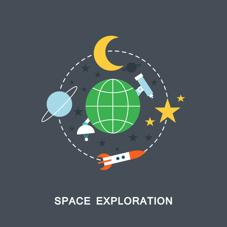 exploration: Space exploration vector image