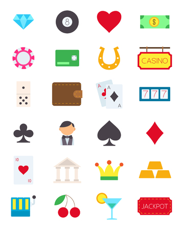 games of chance: Set of 24 games of chance vector icons