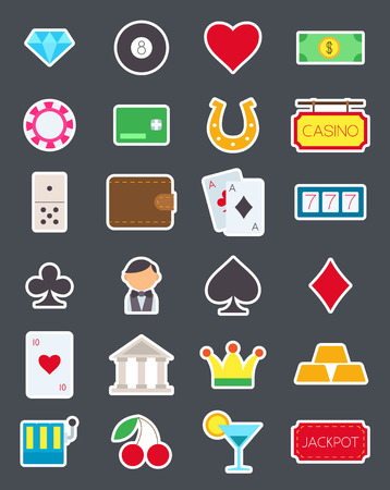 games of chance: Set of 24 games of chance isolated vector icons