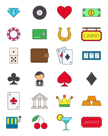 variegated: Set of 24 games of chance variegated vector icons