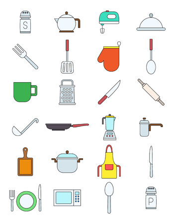 variegated: Set of 24 kitchen items variegated vector icons
