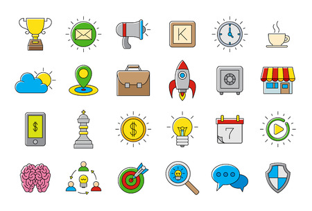 comunity: Set of 24 colorful Web vector icons