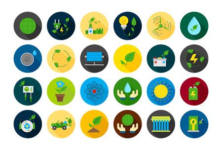 ecosistema: Conjunto de 24 iconos vectoriales ecológica redondas