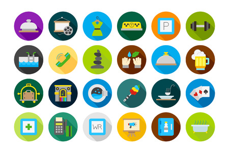 Set di 24 icone di intrattenimento tondo vettoriale