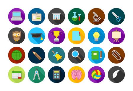 ball pens stationery: Conjunto de 24 elementos de iconos de la escuela vector ronda