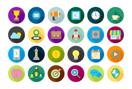 comunity: Set of 24 Web round vector icons Illustration