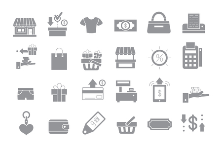 web shopping: Set of 24 Store gray vector icons Illustration