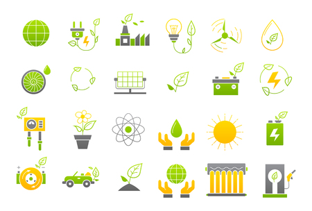 eco icons: Set of 24 Eco yellow-green vector icons