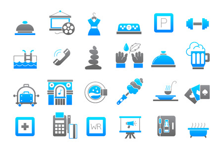 lifestyle: Set of 24 Entertainment gray-blue vector icons Illustration