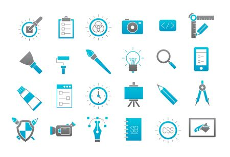 calibration: Set of 24 Graphic design gray-blue vector icons