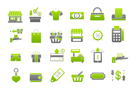 shopping icon: Set of 24 Store green-gray vector icons