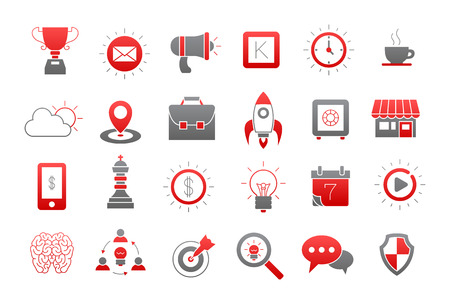 comunity: Set of 24 Web gray-red vector icons Illustration