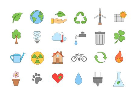 eco icons: Set of 24 Eco colorful icons