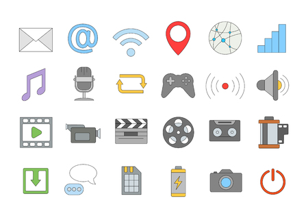 multimedia icons: Set of 24 Multimedia colorful icons