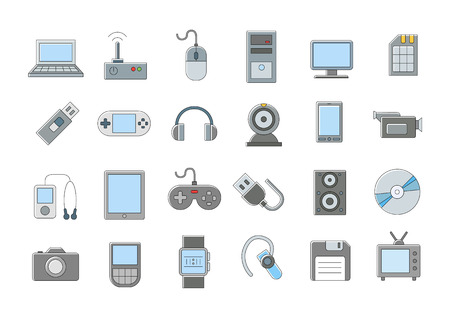pc: Set of 24 Computer technologies vector icons