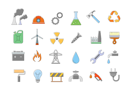power plant: Set of 24 Industry & work vector icons