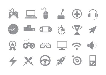 Ensemble de 24 icônes de vecteurs gris de divertissement