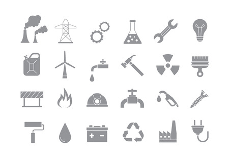 nuclear icon: Set of 24 Industry & work gray vector icons