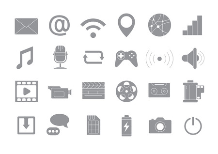 multimedia icons: Set of 24 Multimedia gray vector icons