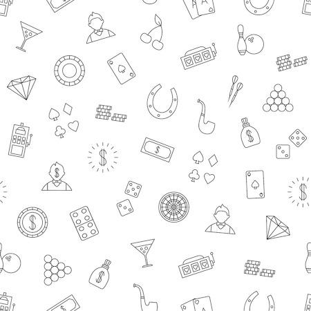 gambling chips: Set of Gambling pattern black icons