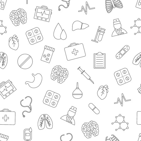 desease: Set of Hospital pattern black icons Illustration