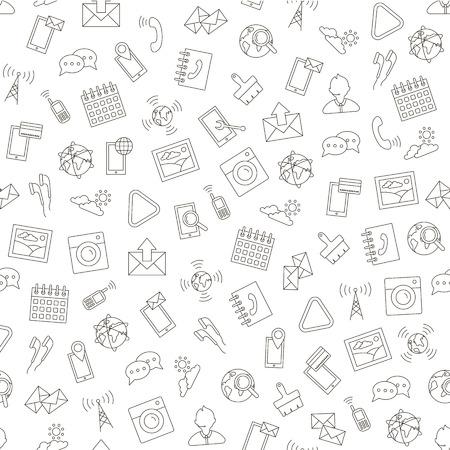 Set of Social life pattern black icons