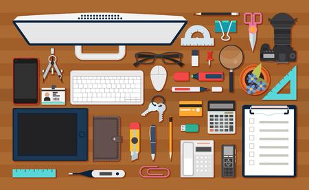 equipment work: Vector image of office work equipment