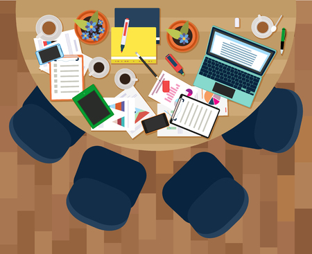Image of vector Workplace of business meeting