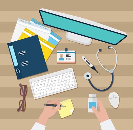 medical illustration: Vector image of Doctor workspace
