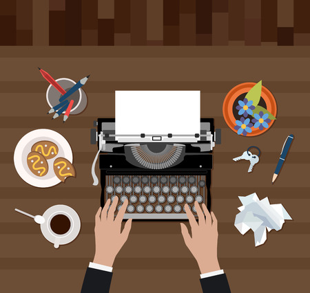 Vector image of scriptwriter workplace