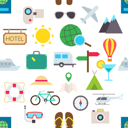 scubadiving: Set of travel vector pattern stickers