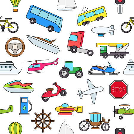 air plane: Set of Transport colorful pattern icons