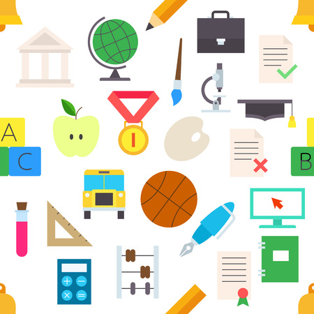 ball pens stationery: Elementos de educaci�n pegatinas vector patr�n