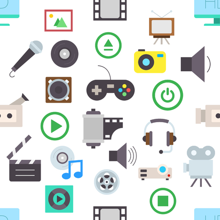 entertainment: Set of Entertainment vector pattern stickers