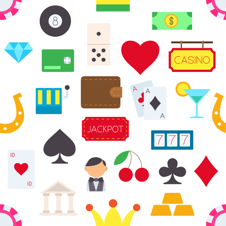 games of chance: Set of Games of chance vector pattern stickers