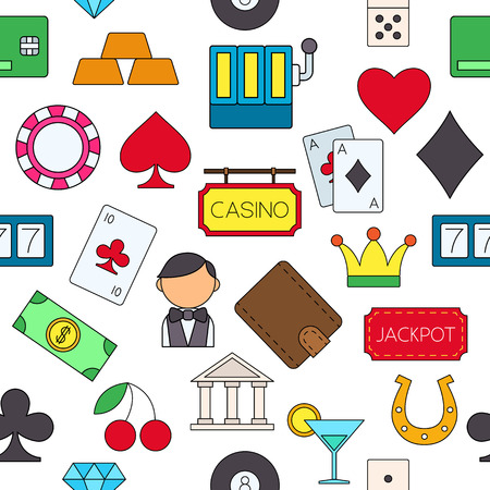 Set of Games of chance colorful pattern icons