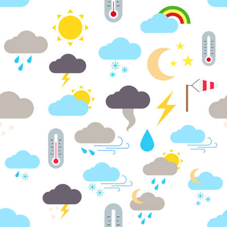 Set of wheather forecast vector pattern stickers