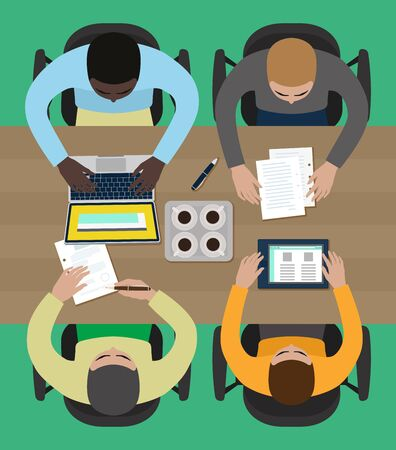 coworkers: Coworkers on a business meeting Illustration