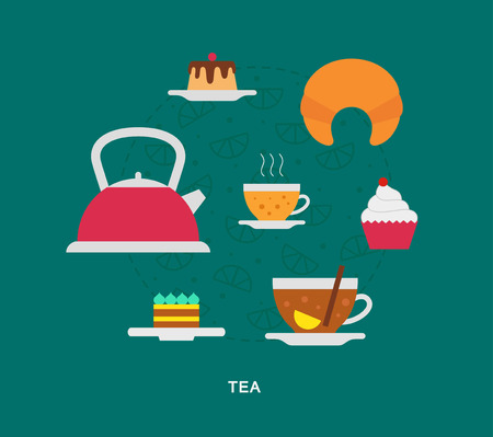 Tea and sweets icons