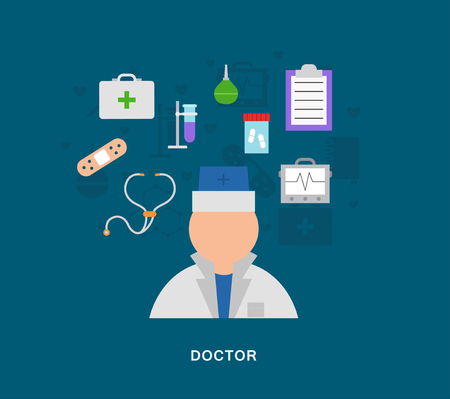 Medecal doctor icons on blue background