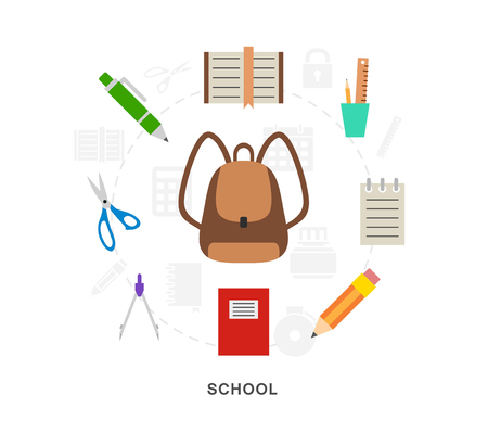 School items icons vector set