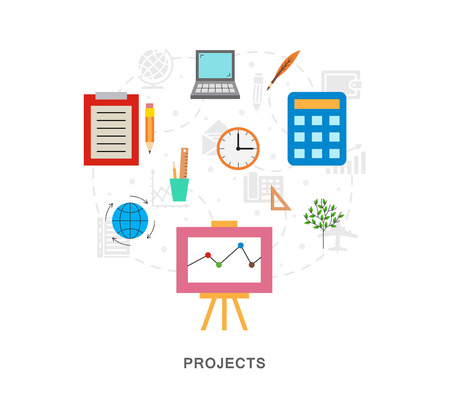 Business project icons illustration art 向量圖像