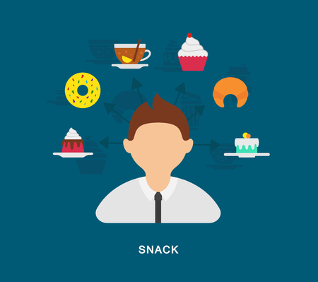 Business snack icons on blue background 向量圖像