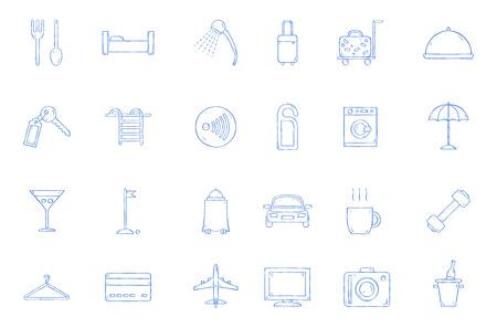 Hotel icons set handmade style 向量圖像