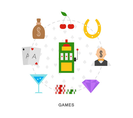 Casino games icons on white background