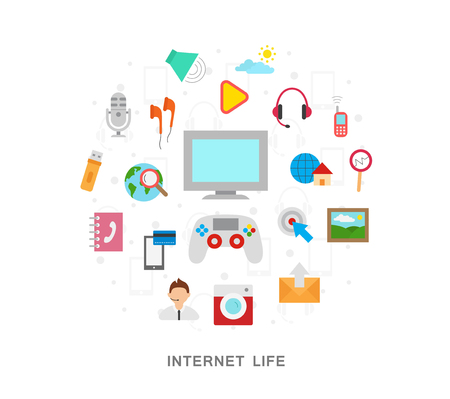 Internet life icons graphic on white