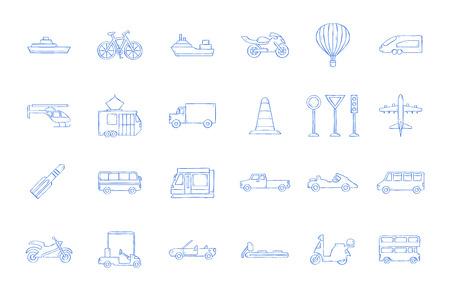 Transport icons handmade style