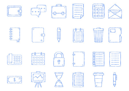 notebook icons set handmade style 向量圖像