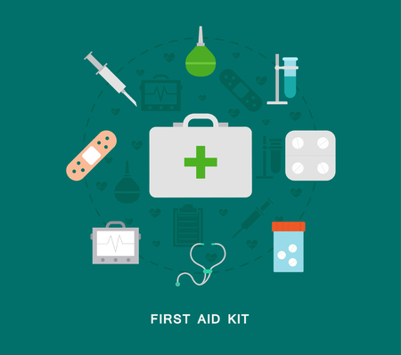phonendoscope: First aid kit icons